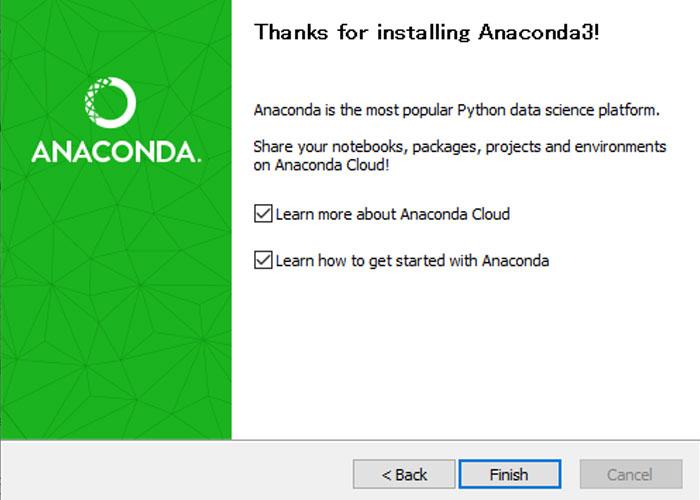 anacondaのインストール完了画面